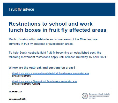 Fruit fly content for schools to communicate with parents 22Jan2021 FINAL SHORT